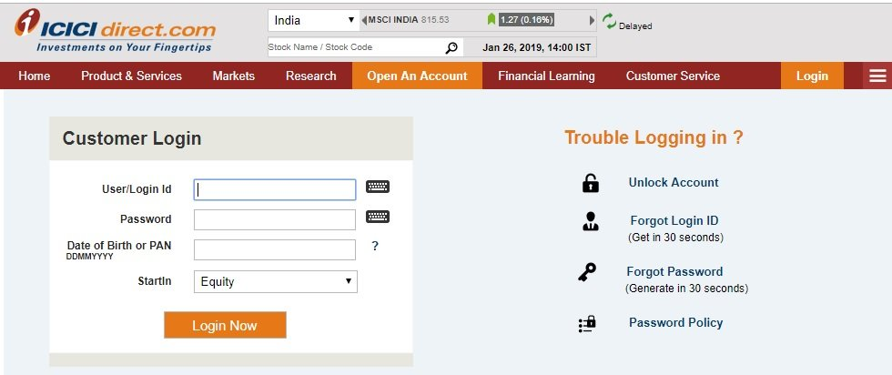 NPS ICICI Direct login