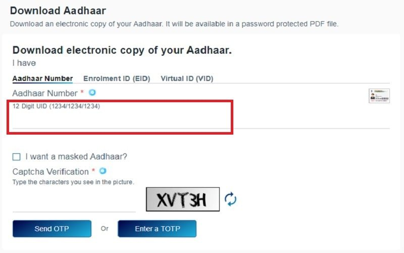 download e-Aadhaar Card step 3