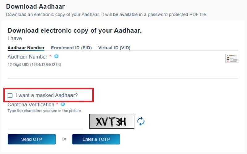 download e-Aadhaar Card step 4