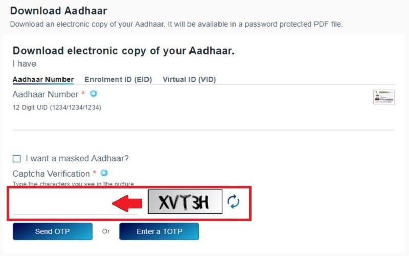 download e-Aadhaar Card step 5