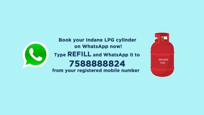 indane lpg whatsapp booking numner
